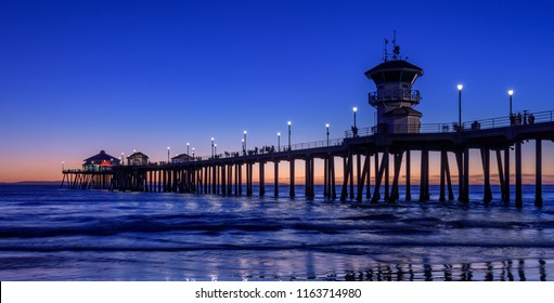 "Huntington beach, USA - January 2018: Huntington Beach is a seaside city in Orange County in Southern California.  Huntington Beach is called ""Surf City""."