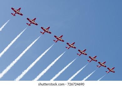 Huntington Beach, USA - October 1, 2017: Canadian Forces Snowbirds performing at the Huntington Beach Air Show.
