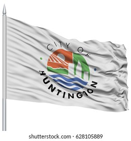 Huntington City Flag on Flagpole, West Virginia State, Flying in the Wind, Isolated on White Background