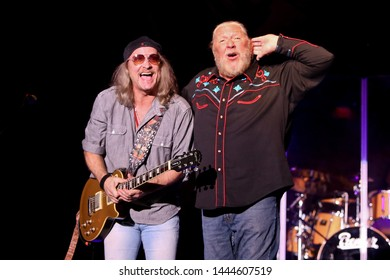 HUNTINGTON, NY - JUN 27: Chris Hicks (L) and Doug Gray of the Marshall Tucker Band perform in concert at the Paramount on June 27, 2019 in Huntington, New York.