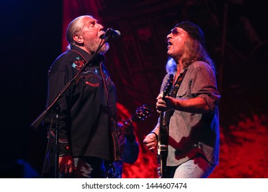 HUNTINGTON, NY - JUN 27: Doug Gray (L) and Chris Hicks of the Marshall Tucker Band perform in concert at the Paramount on June 27, 2019 in Huntington, New York.
