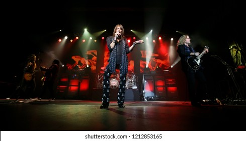 HUNTINGTON, NY - OCT 25: Jeff Keith (L) and Frank Hannon of Tesla perform onstage at the Paramount on October 25, 2018 in Huntington, New York.