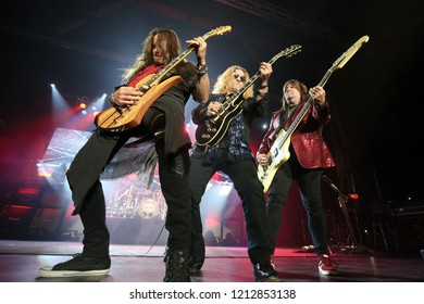HUNTINGTON, NY - OCT 25: (L-R) Dave Rude, Frank Hannon and Brian Wheat of Tesla performs onstage at the Paramount on October 25, 2018 in Huntington, New York.