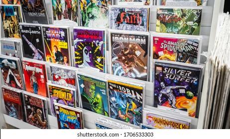 Huntington, West Virginia, USA - February, 15, 2020 - Comic books on the display shelf at a local comic store.