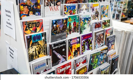 Huntington, West Virginia, USA - February, 15, 2020 - New comic books on display at a local comic book store.