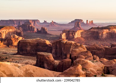 Hunt's Mesa, view of the Monument Valley an sunrise. Outdoor adventure scenics