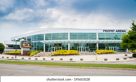 HUNTSVILLE, AL - May 29, 2014: Front side of Propst Arena in downtown Huntsville, AL, on May 29, 2014.