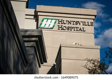 Huntsville, Alabama - February 10, 2020: Huntsville Hospital logo and text on building exterior