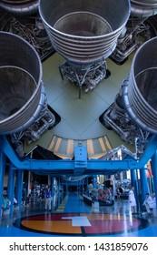 Huntsville, Alabama / USA - June 16, 2019: US Space and Rocket Center Lunar Module Display with Moon Rocket