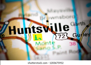 Huntsville. Alabama. USA on a map