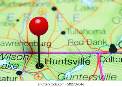 Huntsville pinned on a map of Alabama, USA
