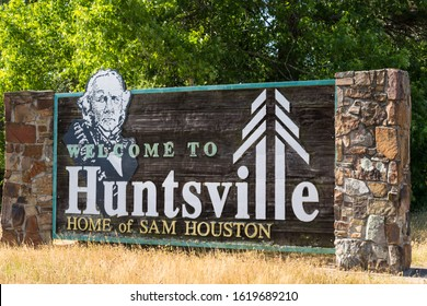 HUNTSVILLE, TEXAS/USA - MAY 06, 2013: Welcome to Huntsville sign, home of Sam Houston, Texas, USA