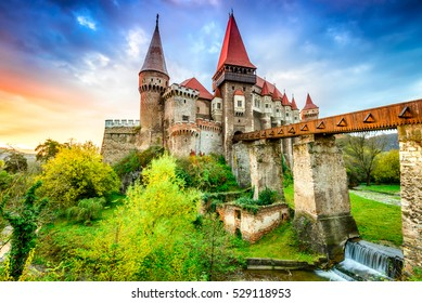 Hunyad Castle. Beautiful panorama of the Corvin's Castle with wooden bridge, Hunedoara, Transylvania, Romania, Europe.