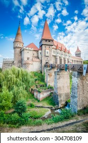 Hunyad Castle / Corvin's Castle in Hunedoara, Romania. Romanian castle landmarks. Long exposure.