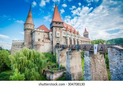 Hunyad Castle / Corvin's Castle in Hunedoara, Romania. Romanian castle landmarks.
