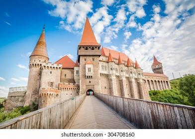 Hunyad Castle / Corvin's Castle in Hunedoara, Romania. Romanian castle landmarks. Front view.