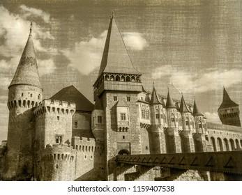 Hunyad Castle.Monochrome panorama of the Corvin's Castle with the wooden bridge, Transylvania, Romania