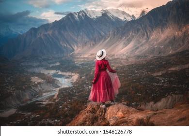 Hunza Nagar valley in autumn season. Gilgit Baltistan, Pakistan.