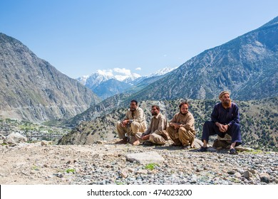 Hunza, PAKISTAN - April 13, 2016: An unidentified people in a village of the Hunza , Pakistan with a population of more than 150 million people.