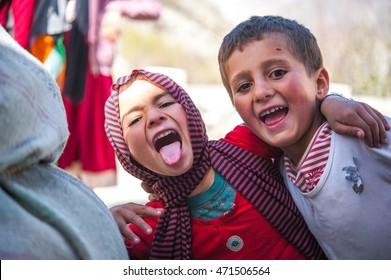 HUNZA, PAKISTAN - APRIL 14: An unidentified Children in a village of the Hunza, April 14, 2014 in Hunza, Pakistan with a population of more than 150 million people.