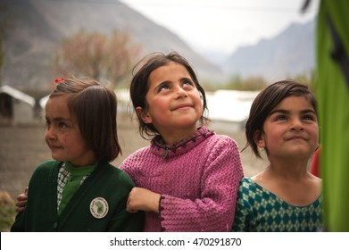 HUNZA, PAKISTAN - APRIL 15: An unidentified Children in a village of the Hunza, April 15, 2015 in Hunza, Pakistan with a population of more than 150 million people.