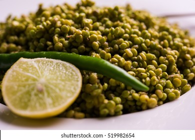 Hurda/Tender Jowar or sorghum Bhel, served in a bowl. Isolated over colourful or wooden background. Selective focus