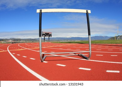 A hurdle at a high school track, representing obstacles in our lives.
