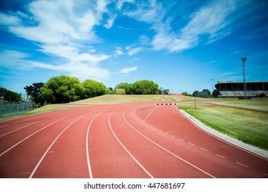 Hurdle on the running track in stadium