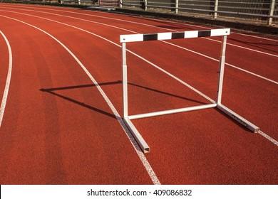 hurdle race barrier on stadium track