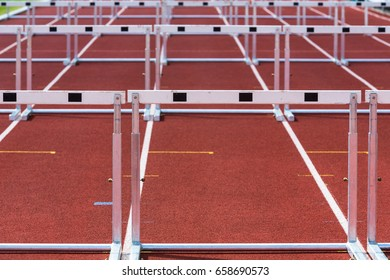 hurdles on the track in athletics stadium