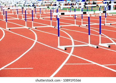 The hurdles stand on the track