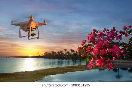 HURGADA. EGYPT: 07.12.2013, Image of the Dji Inspire 1 drone UAV quadcopter which shoots 4k video and 12mp still images and is controlled by wireless remote with a range of 4km