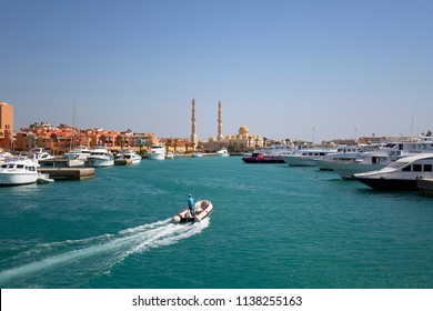 Hurgada, Egypt - July 11 2018: Entrance to the port of Hurghada in Egypt