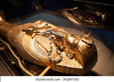 HURGHADA, EGYPT - CIRCA NOV, 2015: Golden tomb of Egyptian pharaoh is in the hotel museum. The Alf Leila Wa Leila spa (1001 Nights) is one of the Pickalbatros chain in Hurgada