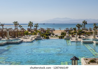 HURGHADA, EGYPT - DECEMBER 16, 2018: Five stars Sheraton Soma Bay Resort (326 guest rooms) located directly on 800 meters of beautiful beachfront in Soma Bay 30 km from Hurghada. Beautiful hotel area.