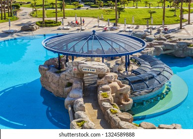 "HURGHADA, EGYPT - DECEMBER 16, 2018: ""Sentido Palm Royale Soma Bay"" five-star resort (445 luxuriously Superior appointed Rooms and Suites). Wonderful pools on site."