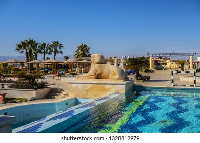 HURGHADA, EGYPT - DECEMBER 16, 2018: Five stars Sheraton Soma Bay Resort (326 guestrooms) located directly on 800 meters of beautiful beachfront in Soma Bay 30 km from Hurghada. Beautiful hotel pool.