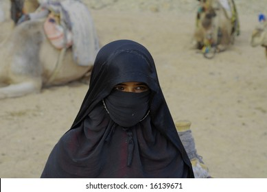 HURGHADA, EGYPT - JANUARY 2008: bedouin woman wearing traditional veil seen in a bedouin village in January 2008