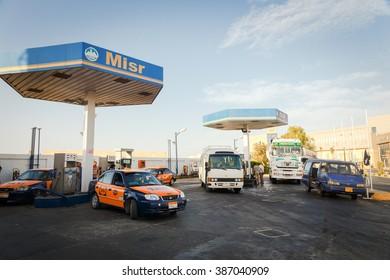 HURGHADA, EGYPT - MAY 20, 2015: Cars on gas station. Hurghada, Egypt. May 20, 2015