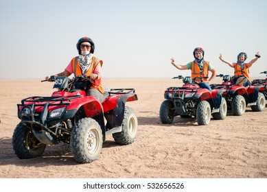 HURGHADA, EGYPT - NOVEMBER 27, 2016:  Quad bikes safari in the desert near Hurghada, Egypt.