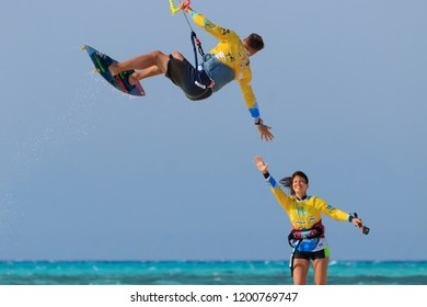 Hurghada / Egypt - September 23 2018: Kiteclass team kite safari trip for kiteboarding water sport train, travel exploration and recreation vacation, rest, relax, fun and chill at summer on Red Sea