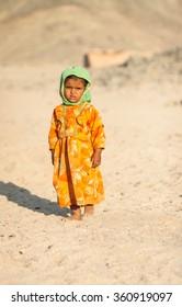 HURGHADA, EGYPT - September 29: Unidentified bedouin child in the desert near Hurghada, September 29, 2011.