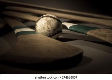 Hurling Ball Close Up. a studio shot of a hurling stick, ball close up
