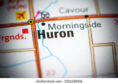 Huron. South Dakota. USA on a map.