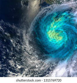 Hurricane with added wind speed direction scheem. Shades of blue-green indicate the range of speeds, with lighter shades representing stronger surface winds. Elements of this image furnished by NASA.