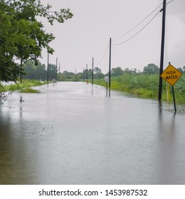 Hurricane Barry flooded roadways, closed roads due to high waters in Iberia parish, Delcambre Louisiana, summer of 2019.