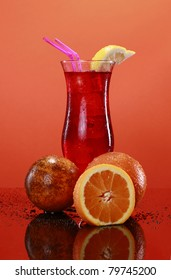 Hurricane cocktail, passion fruit and oranges