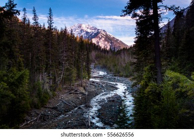 Hurricane Creek flows underneath Sacagawea Peak in the Wallowa Wilderness.