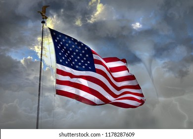 Hurricane Cyclone tempest in usa town flag