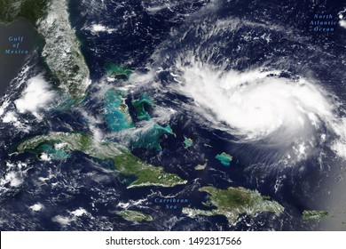 Hurricane Dorian in the Carribean Sea on its way to US mainland in August 2019 - Elements of this image furnished by NASA